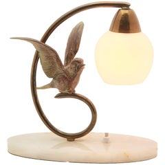 Art Deco Table Lamp with Bird Made of Bronze on Base of Alabaster, Label Prolux