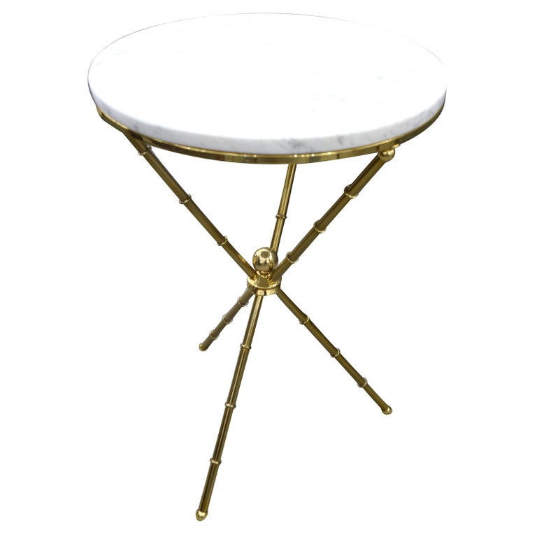 Italian Faux Bamboo Brass and Marble Side Table or Gueridon