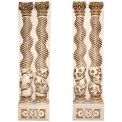 Pair of Hand-Carved Solominic Half Columns in the Manner of Bernini
