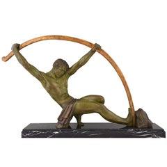 Art Deco Sculpture Athlete with Bar, L'age Du Bronze Demetre Chiparus