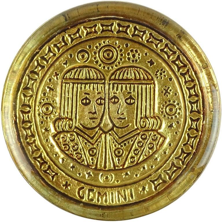 Venetian Gold Leaf Embossed Gemini Zodiac Sign Italian Art Glass Paperweight