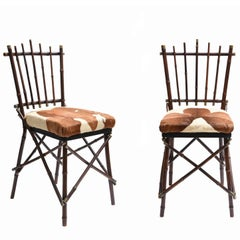 Pair of Bamboo and Brass Chairs