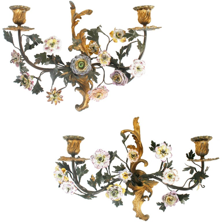 Pair of 19th Century French Tôle and Gilt Bronze Sconces with Faience Flowers