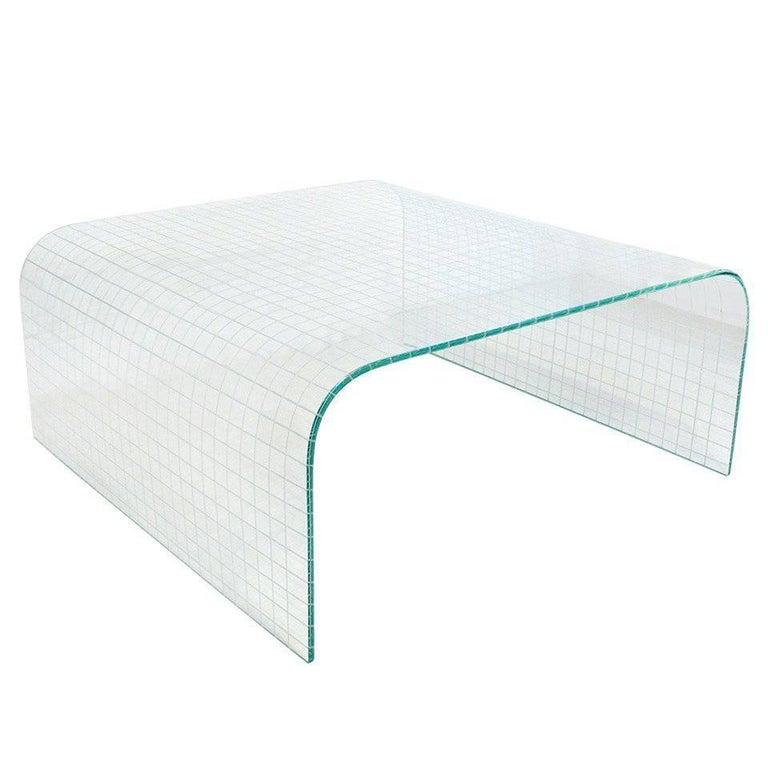 Scored Glass Waterfall Coffee Table, style of Fiam
