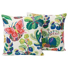 Schumacher Josef Frank Exotic Butterfly Linen Spring Two-Sided Pillows, Pair