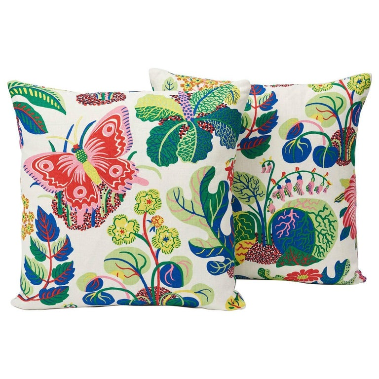 """Schumacher Josef Frank Exotic Butterfly Spring Two-Sided 18"""" Linen Pillows, Pair For Sale"""