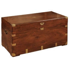 19th Century English Mahogany Trunk with Brass Mounts and Handles