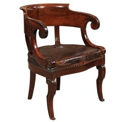 French Empire Walnut Desk Chair, Early 19th Century