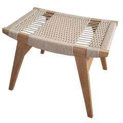 Contemporary Pi Stool, Oak Frame, Danish Cord Seat, Made in the USA