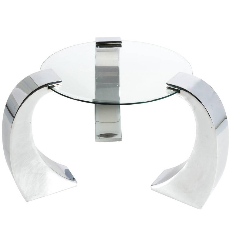 Contemporary Chrome and Glass Circular Table