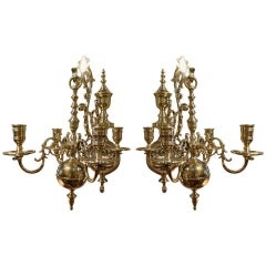 Pair of Four Brass Candle Chandelier Wall Sconces, 19th Century