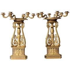 Unusual Pair of Empire Ormolu Six-Light Candelabra, Signed Thomire A Paris