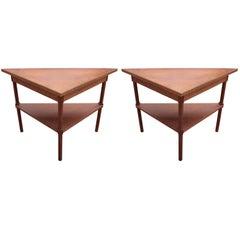 Pair of Modern Custom Walnut Demilune Entry Tables with Greek Key Trim