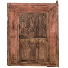 18th Century Spanish Wood and Iron Split-Door Within Original Casing