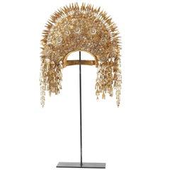 Sumatran Traditional Golden Metal Headdress with Flowers, circa 1920