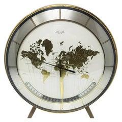 Table Clock Original Italian in Brass and Metal, 1950s