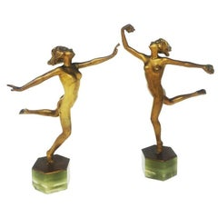 Pair of Original Josef Lorenzl Bronze Art Deco Ladies Dancers, Vienna, 1925