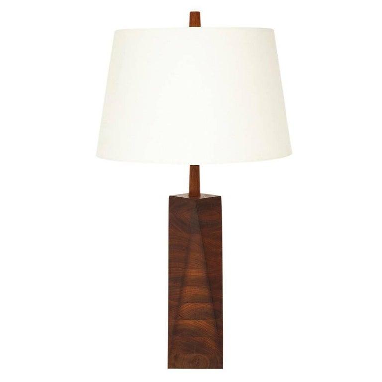 Martz Ceramic Faceted Wood Table Lamp Walnut Teak, USA, 1960s
