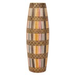 Bitossi Londi Ceramic Vase Seta Gold Magenta Signed, Italy, 1960s