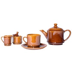 "Stunning Tea Set from ""Stavanger"" Norway in Glassed Ceramics"