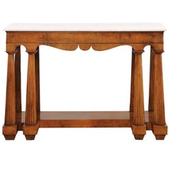 Italian, 1850s Walnut Veneered Console Table with Marble Top and Column Legs
