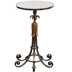 French 1890s Napoleon III Style Iron and Gilt Metal Drink Table with Foliage