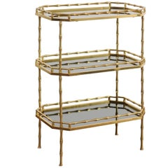 Italian Vintage Brass and Black Glass Three-Tiered Side Table from the 1960s
