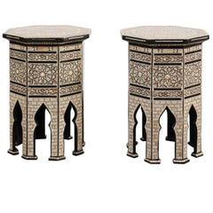 Pair of Moorish Style Syrian Octagonal Tables with Mother-of-Pearl Inlay, 1900s