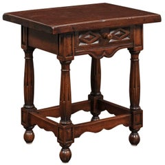Petite Italian Walnut Side Table with Single Drawer and Fluted Legs, circa 1870