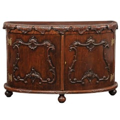 Italian Rococo Style 1800s Hand-Carved Oak Demi-Lune Cabinet with Cartouches