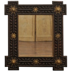 French Tramp Art Mirror with Gilded Sun Motifs from the Early 20th Century