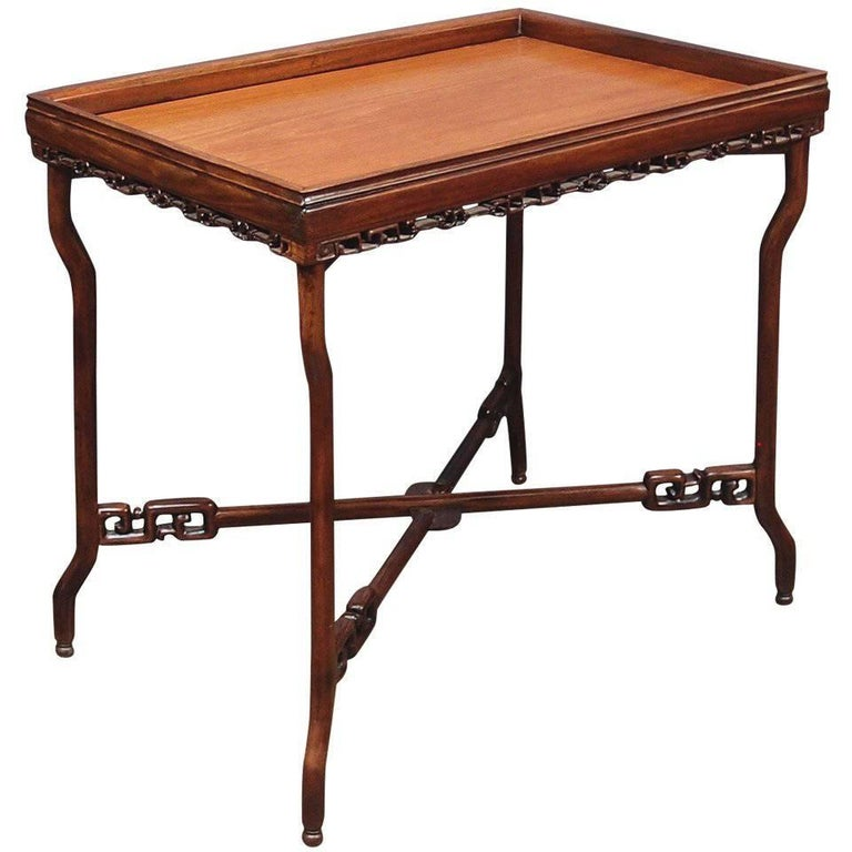 19th Century Chinese Export Hardwood Folding Tray Table For Sale