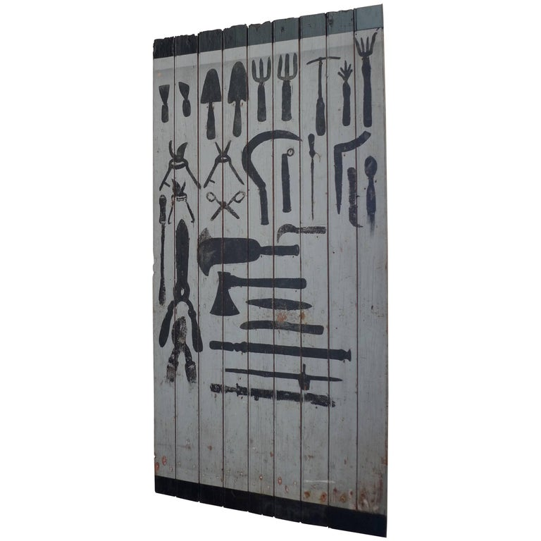 French 1940s Painted Garden and Tool Shed Door