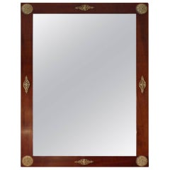 French 19th Century Stained Walnut and Brass Empire Style Framed Mirror