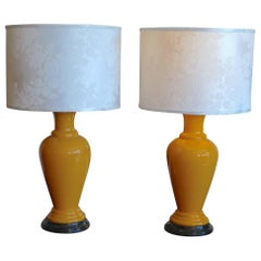 Two French 1960s Ceramic Table Lamps and Shades