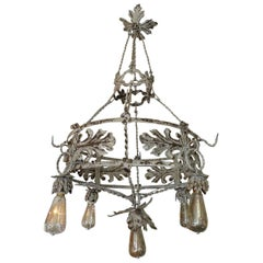 1930s Round Painted Iron Ceiling Light with Four Outer and One Centre Light