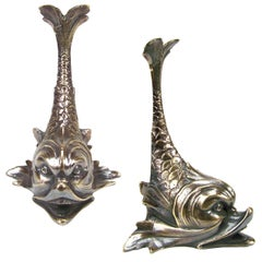 Pair of Library Bookends, Brass Baroque Whale