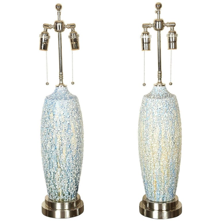 Lovely Pair of Ceramic Lamps with a Textured Multicolored Volcanic Glaze