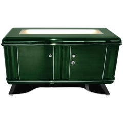 Illuminated Art Deco Dresser in Jaguar Racing Green