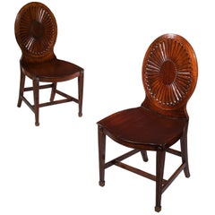 English 18th Century Neoclassical Mahogany Hall Chairs Mayhew and Ince