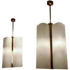 Pair of Italian, 1970s Metal and Glass Chandeliers
