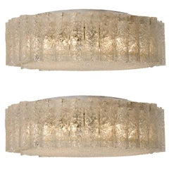 Pair of Extra Large Doria Clear Flush Mount Chandeliers, 1960