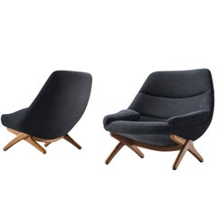 Illum Wikkelsø Lounge Chairs in Oak and Antracite Wool