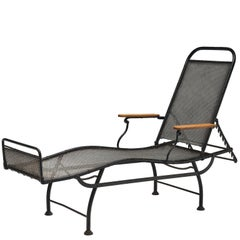 French Adjustable Patinated Iron Daybed, 1930s