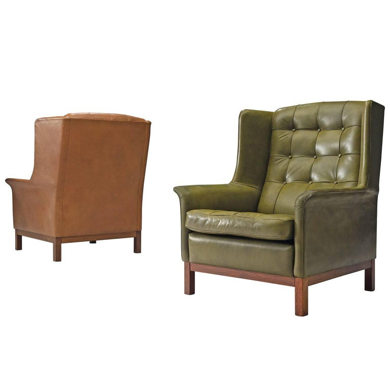 Arne Norell High Back Chairs in Patinated Green and Cognac Leather