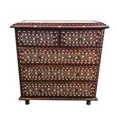 Bone-Inlaid Teak Chest of Drawers with Marble Top from India