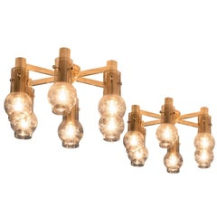 Set of Two Swedish Brass Chandeliers with Smoked Glass Shades
