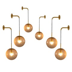 Large Set Brass and Smoked Glass Wall Lights