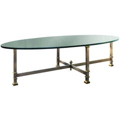 Midcentury Bronze Coffee Table with Glass Top