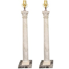 Tall Pair of 19th Century Marble Columns as Lamps, Black Marble Bases